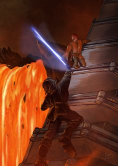 Anakin Skywalker/Darth Vader vs Obi-Wan Kenobi - Star Wars Episode III: Revenge of the Sith Anakin Vs Obi Wan, War Novels, Star Wars Pictures, Jedi Knight, Star Wars Wallpaper, Star Wars Fan Art, Star Wars Jedi, Anakin Skywalker, Clone Wars