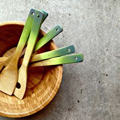 Ombre Wooden Spoons in avocado. Love these for the new kitchen