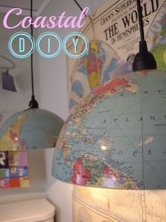 Coastal nautical globe light DIY. I would love this for a playroom for Lucas!