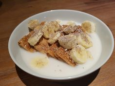 Vita Brits with honey, banana, rice milk and white chia seeds