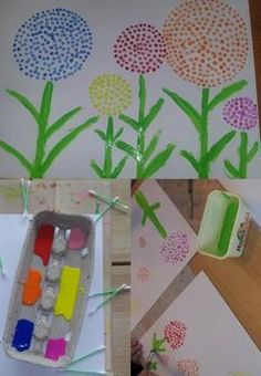 Tape a piece of paper on top with circles cut out to stencil Kindergarten Crafts, Preschool Crafts, Spring Activities, Art Activities, Summer Crafts, Diy And Crafts, Diy For Kids, Crafts For Kids, Spring Art