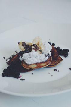 banana pancakes & coconut cream.