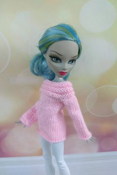 Monster High doll clothes. Hand-knitted baby pink sweater and | Etsy Knitted Baby, Baby Knitting, Monster High Doll Clothes, Knit Fashion, Custom Dolls, Pink Sweater, Pretty Outfits, Happy Shopping, Fabric