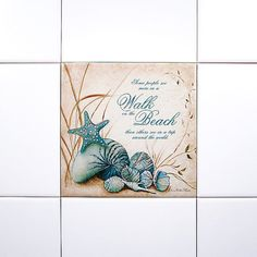 Beach Art Tile Another great source to purchase single tiles featuring art is Tile Art Gallery. They have Charlene Olson's Lovely Walk on the Beach Painting as a tile here. Single accent beach tiles can be mounted into any tile wall scheme. A very easy and simple way to add a splash of spectacular in the bathroom, kitchen & beyond!