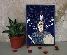 Indianer - Illustration/Druck (A4/A5) von Irina Mmurs Things auf DaWanda.com
