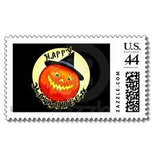 Halloween Jack-O-Lantern Pumpkin Postage  for all your party invites, greeting cards and more.  Original art by Jamie Wogan Edwards. #Halloween #party #jackolantern #jamiecreates1 #jamiewoganedwards #zazzle