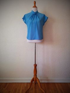 Vintage 80's Rosette Collared Blouse Blue with Ruched by BetaGoods, $28