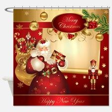 Santa Claus Shower Curtain For Christmas Decorations The Home
