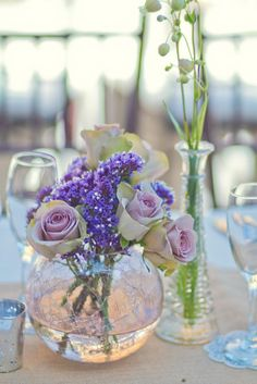 vintage wedding centerpiece, just purple heather and sterling silver roses