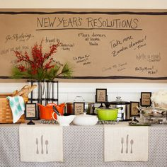 """How easy is this backdrop?! Brown kraft paper - write the heading """"New Year's Resolutions"""" and have everyone write theirs down!"""
