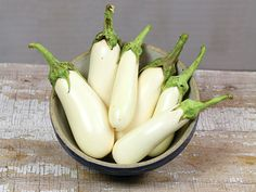 Baker Creek Heirloom Seeds. Casper eggplant, 25 seeds for $2.50. Medium size, very attractive, smooth white eggplant that have a very mild mushroom-like Flavor.
