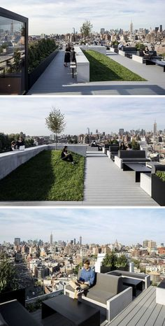 On the roof of this office space there's an amazing view of New York City, plenty of seats and a small grassy hill for a more relaxed break time.