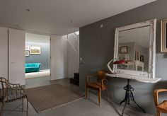 grey walls, distressed paint, teal accent  The Househunter 13/6/14 | Mad About The House