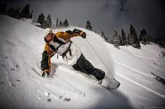 Neil Provo surfing pow in the Wasatch Range, Utah, USA Photo: Ian Provo