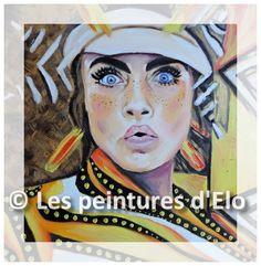 woman portrait surprised stripes painting peas art Les peintures d'Elo