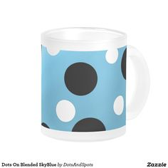 Dots On Blended SkyBlue 10 Oz Frosted Glass Coffee Mug