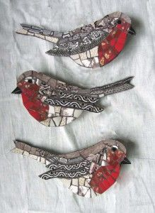 Idea: Create a bird shape from air dry clay. Insert a skewer to create a plant pick, wait until it dries then embellish. (Use magazines as mosaic cut pieces and Decopodge. Create an eye by impressing the tip of the skewer into the clay before it dries, then paint black)