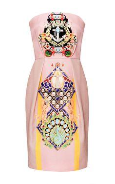 long sculpted waist tucks  Olympia Printed Silk and Cotton-Blend Dress by Mary Katrantzou - Moda Operandi