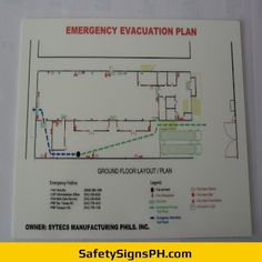 Deliver a safe and clear egress route to building occupants with our customized photoluminescent evacuation p. Emergency Evacuation Plan, Philippines, Floor Plans, Layout, How To Plan, Maps, Signs, Page Layout, Shop Signs