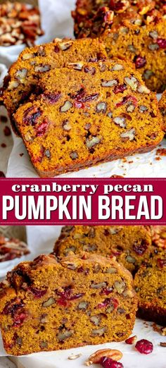 This extra delicious and supremely moist Cranberry Pecan Pumpkin Bread is bursting with fall flavors! So easy to make to and a guaranteed hit with friends and family this holiday season. This easy recipe is sure to become a new family favorite! Artisan Bread Recipes, Bread Machine Recipes, Easy Bread Recipes, Cooking Recipes, Cake Recipes, Autumn Bread Recipes, Pecan Recipes, Healthy Recipes, Cranberry Pecan Bread Recipe