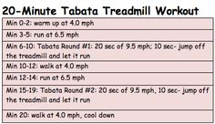 20-minute tabata treadmill workout - I do this 2-3 times per week on my lunch break!