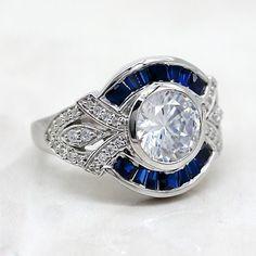 Antique Art, Vintage Antiques, Vintage Jewelry, Unique Jewelry, Art Deco Diamond, Travel Jewelry, Art Deco Fashion, Round Diamonds, Sapphire