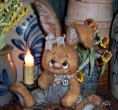 Primitive Raggedy Ann Bunny Rabbit Doll Bear Antique Lace ★ Vtg Patti's Ratties
