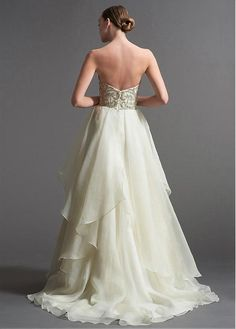 Elegant Organza Sweetheart Neckline Natural Waistline A-line Wedding Dress With Embroidery & Beadings