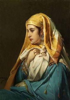 'Femme Orientale'- Jean Francois Portaels (Belgian, 1818-1895)