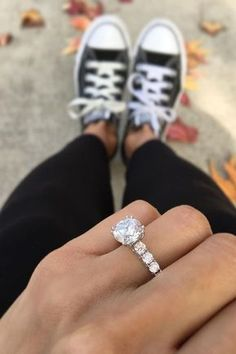18 White Gold Engagement Rings To Conquer Your Love ❤️ white gold engagement rings round cut diamond pave band classic ring ❤️ More on the blog: https://ohsoperfectproposal.com/white-gold-engagement-rings/