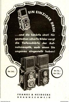 Werbung - Original-Werbung /Anzeige 1938 - ROLLEI KAMERA/ROLLEIFLEX / ROLLEICORD/ FRANKE & HEIDECKE BRAUNSCHWEIG - ca. 65 x 110 mm