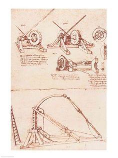 Designs for a catapult by Leonardo di ser Piero da Vinci (Italian, Da Vinci Inventions, Renaissance Art, Michelangelo, Cartography, Custom Framing, Framed Art, Giclee Print, Retro, Canvas Art