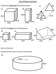 Surface Area Worksheet Surface area of prisms: level | matth ...