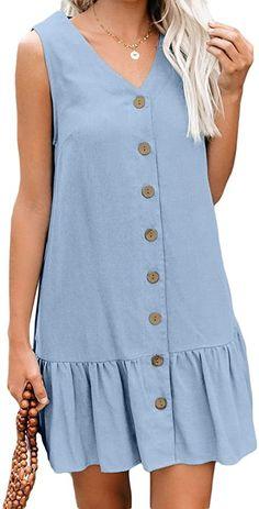Asvivid Womens Summer Button V Neck Sleeveless Short Tank Dress Ruffle Swing Mini Casual Dresses Casual Dresses For Women, Casual Outfits, Dress Casual, Blue Dresses, Summer Dresses, Mini Dresses, Marine Uniform, Button Down Shirt Dress, Tank Dress