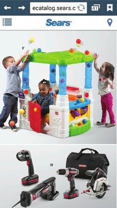 My kids would have a blast with this activity house. Plus the tools my hubby would love! Having A Blast, Nerf, Wonderland, Activities, Tools, Kids, House, Young Children, Instruments