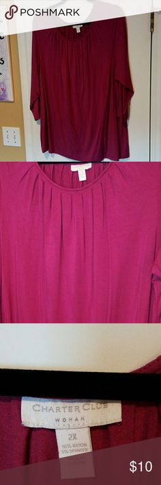 Charter Club 3/4 sleeve shirt Pretty for fall, 3/4 sleeves Shirt in a dark pink color almost a mulberry. Size 2X, length 29 1/2 inches. Charter Club Tops Tees - Long Sleeve