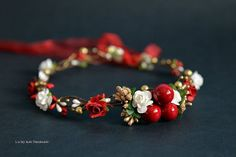 Christmas Gold berry crown Holiday hair by LuckyKidsHandmade