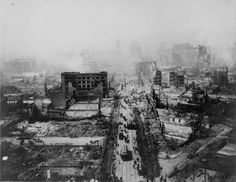 April 18, 1906 the famous San Francisco earthquake (nearly 8.0) and fire. The fire was esp devastating bc of the broken water mains from the earthquake. Dynamite was used to create firewalls. People trapped @ Van Ness Ave were evacuated onto USS Chicago. US Army troops were given a shoot to kill order to anyone found looting. I Survived Series
