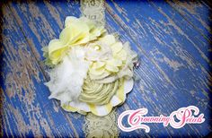 Yellow Ivory Fabric Flower Headband Pale Yellow by CrowningPetals, $21.50