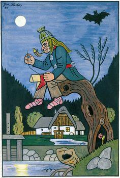 Josef Lada illustration - Vodník (the water sprite) Prague City, Grandma Moses, Henri Rousseau, Naive Art, Mythology, Illustrators, Folk Art, Fairy Tales, Illustration Art