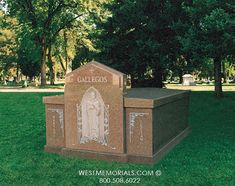 West Memorials - 2 crypt double drawer mausoleum with hand carved statue bas-relief 2017 Design, Beautiful Birds, Granite, Hand Carved, Stained Glass, Carving, Memories, Statue, Drawer