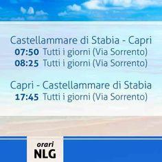 Buona serata a tutti! Oggi menzioniamo la linea Castellammare di Stabia - Capri che quotidianamente garantisce le sue corse verso l´isola Azzurra con passaggio per Sorrento. Per maggiori info su questo e gli altri collegamenti, per acquisto di biglietti on line visitate il nostro sito www.navlib.it