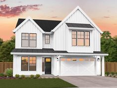 Mark Stewart Home Design is on the leading edge of the recent surge in farmhouse style homes, and this two story affordable farmhouse is part of a brand new collection of these designs. Two Story House Plans, Simple House Plans, Garage House Plans, Craftsman House Plans, Narrow House Plans, Architectural Design House Plans, Modern House Design, Affordable House Plans, Open Concept Floor Plans