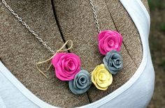 Clay Rose Bib Necklace from flowers I picked up at an amazing handmade boutique!