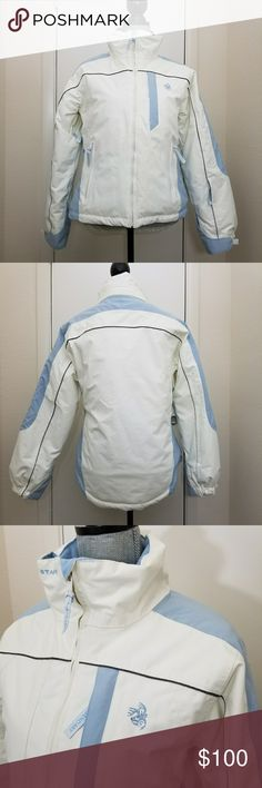 """Legendary Whitetails Pro staff winter jacket Med Medium jacket in powder blue and off white. Durable polyester blend shell with Reflextec™ lining and a breathable, water resistant membrane for protection from the elements. Slightly longer back hem.  Zippered under arm vents, adjustable cuffs, 6 pockets, and Signature Buck embroidery. Does not have detachable hood. Excellent used condition. Flat lay measurements: Approximately 21"""" bust, 14""""-18"""" from underarm to hem. Ask for any other…"""