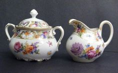 DRESDEN SCHUMANN ANTIQUE GORGEOUS CREAMER AND SUGAR SET