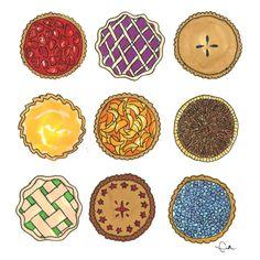 Its Always a Good Time for Pie - Illustration Art Print (5x5)   www.etsy.com/shop/shopevarose
