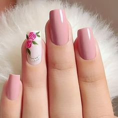 Make an original manicure for Valentine's Day - My Nails Rose Nails, Flower Nails, Pink Nails, My Nails, Cute Acrylic Nails, Acrylic Nail Designs, Nail Art Designs, Stylish Nails, Trendy Nails
