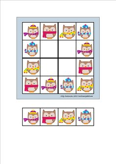 Board and tiles for the sudoku. Laminate and cut out the board and tiles. add hook and loop tape and the sudoku is ready. By Autismespektrum Printable Masks, Sudoku Puzzles, Hook And Loop Tape, Bingo, Owl Bird, 1st Grade Math, Colouring Pages, Great Pictures, Craft Activities