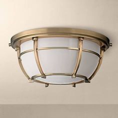 "Hudson Valley Conrad 11 3/4""W Aged Brass Ceiling Light"